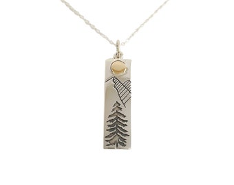Mountain Necklace with Moon and Pine Tree, Sterling Silver Necklace for Woman, Inspirational Outdoor Gift, Mothers Day