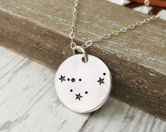 Capricorn Necklace- Zodiac Constellation Jewelry - Stars- December January Birthday Gift for Her - Sterling Silver - Bronze - Gold