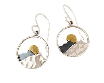 Sterling silver Mountain Earrings - wanderlust jewelry - Miniature Mountain Range with Gold Moon, Gifts for Women, statement earrings