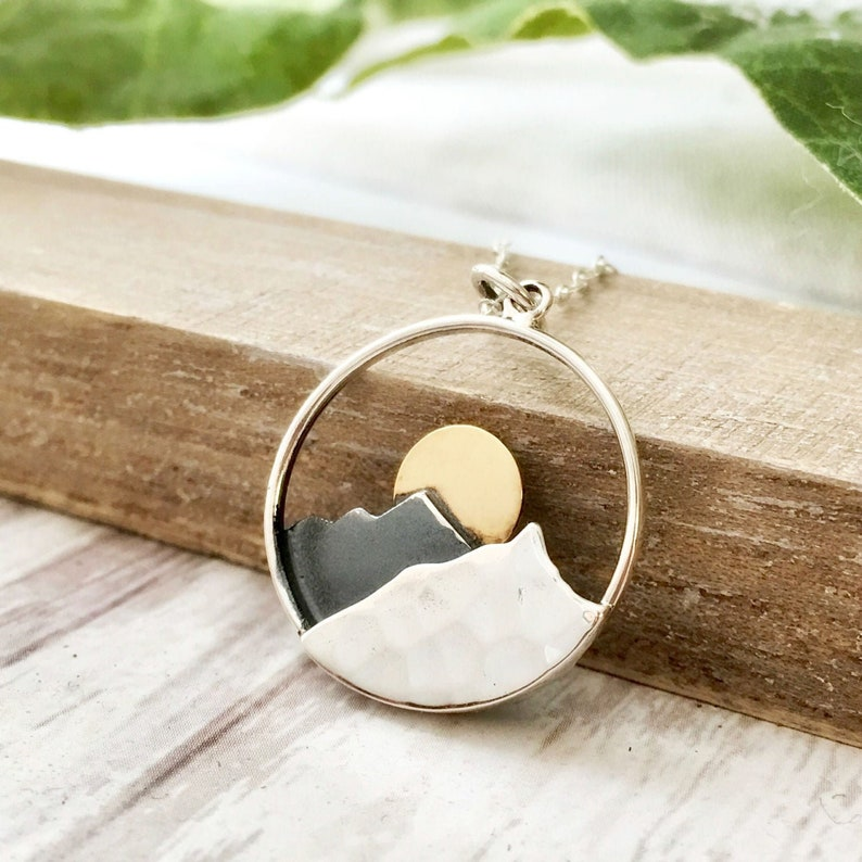 e636479dbeedb Large mountain necklace, The Mountains are Calling and I Must Go, sterling  silver nature pendant jewelry, sun necklace, gifts for women