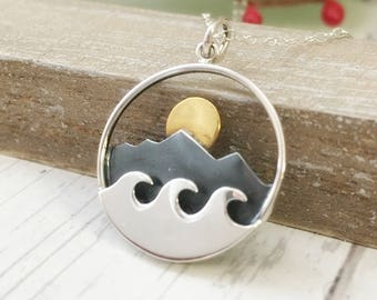 Where the mountains meet the sea - mountain necklace, wave - sun - moon - sterling silver jewelry - gift for her - wave - mountain range