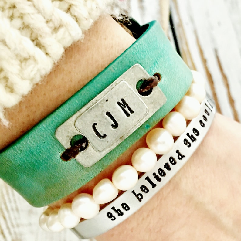 d8d62a5a6d898 Personalized Turquoise Leather bracelet - Metal plate with initials, custom  bracelet, 3rd anniversary gift for wife or girlfriend