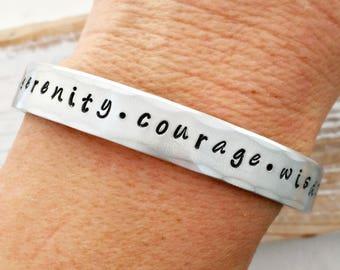Serenity Prayer cuff bracelet - serenity - courage - wisdom - wide aluminum bracelet - gift for her - daily reminder - Valentine Day gift