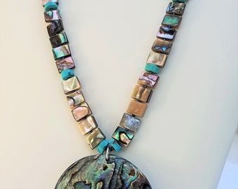 Abalone 25 inch single strand pendent and silver necklace