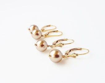 bronze crystal pearls and 14kt gold-filled or Sterling silver one inch drop earrings - bridal, bridesmaid, wedding