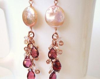rose gold rhodolite garnet morganite peachy pink coin pearl dangles - Made to order