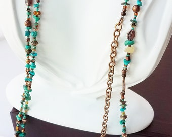 turquoise, calcite and metallic bead wrappable necklace - made to order