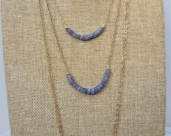 17, 20 and 28 inch single strand faceted genuine Tanzanite rondelle and yellow gold filled necklaces, minimalist, December birthstone