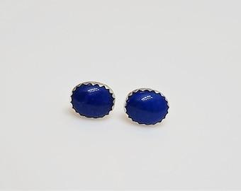 Lapis Lazuli sterling silver serrated bezel set stud and post earrings - 8x10mm oval