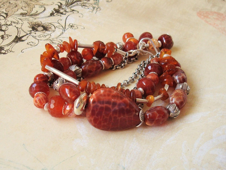 amber and silver multi-strand bracelet fire agate