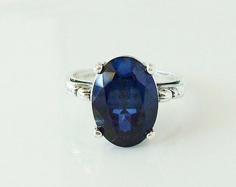 deep blue lab-created sapphire solitaire, Sterling silver ring - made to order