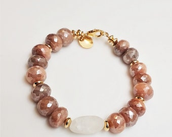 Peach moonstone and gold bracelet