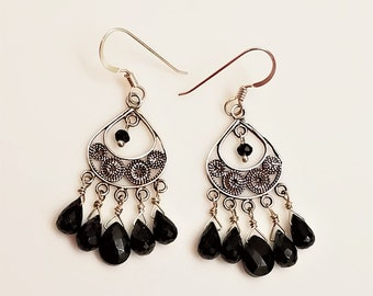 Black spinel, sterling silver and argentium sterling chandelier earrings