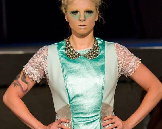 Anti.Label Mint Green Faux Leather Metallic Dress--Small Medium