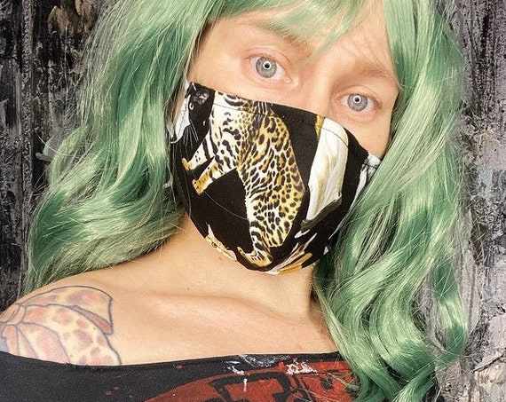 Leopard Print Cat Face Covering Mask w/Nose Wire