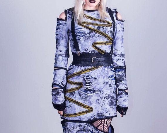 AntiLabel Distressed Cut Out Punk Dress