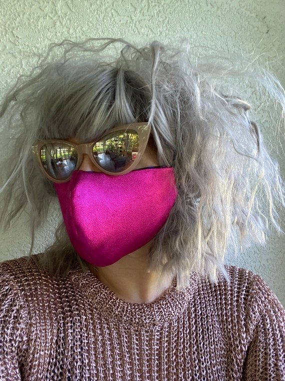 Hot pink metallic FACE MASK w/wire nose
