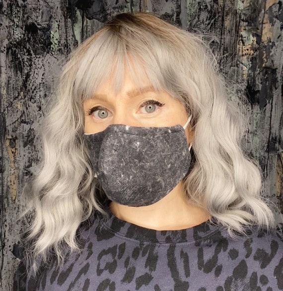 Black acid washed 80s Adjustable Mask w/nose wire