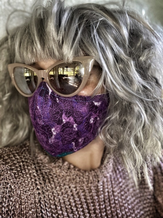 Plum purple lace FACE MASK w/wire nose