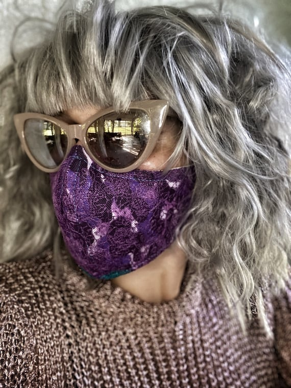 Plum purple lace FACE MASK w/wire nose
