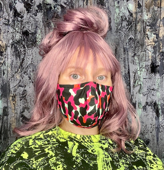 Hot Pink Leopard Print Face Covering w/Nose Wire