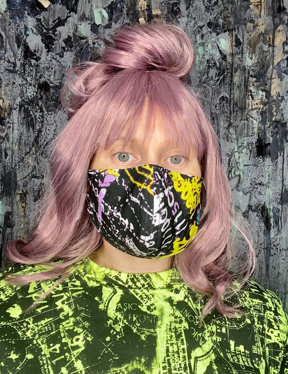 Neon Abstract Pattern Print Adjustable Face Mask