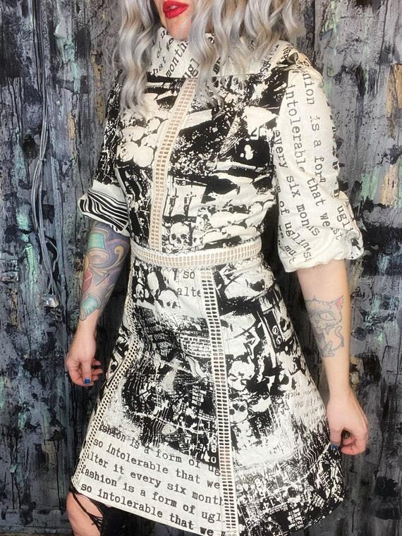 AntiLabel Oatmeal Cotton Puff Sleeve Serial Killer Dress Small