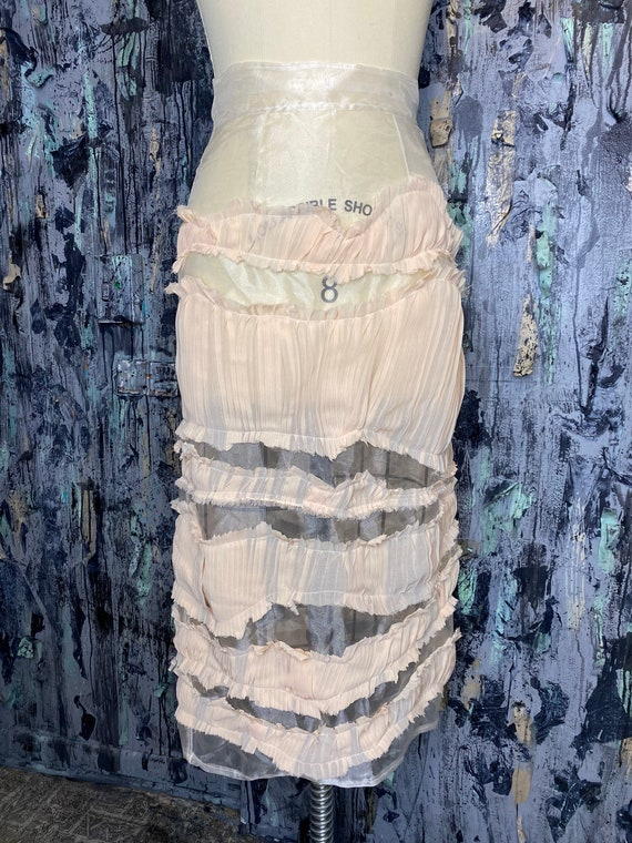 AntiLabel Organza Sheer Tattered Striped Pencil Skirt Small