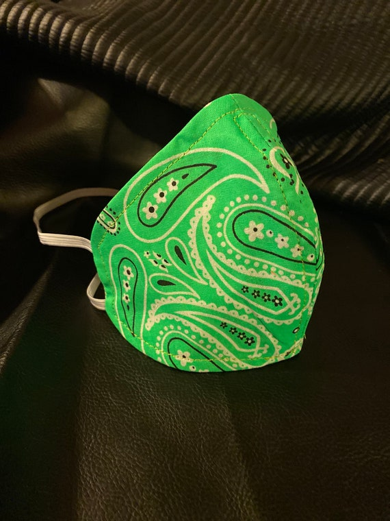 NEON GREEN bandana paisley Face mask w/wire nose