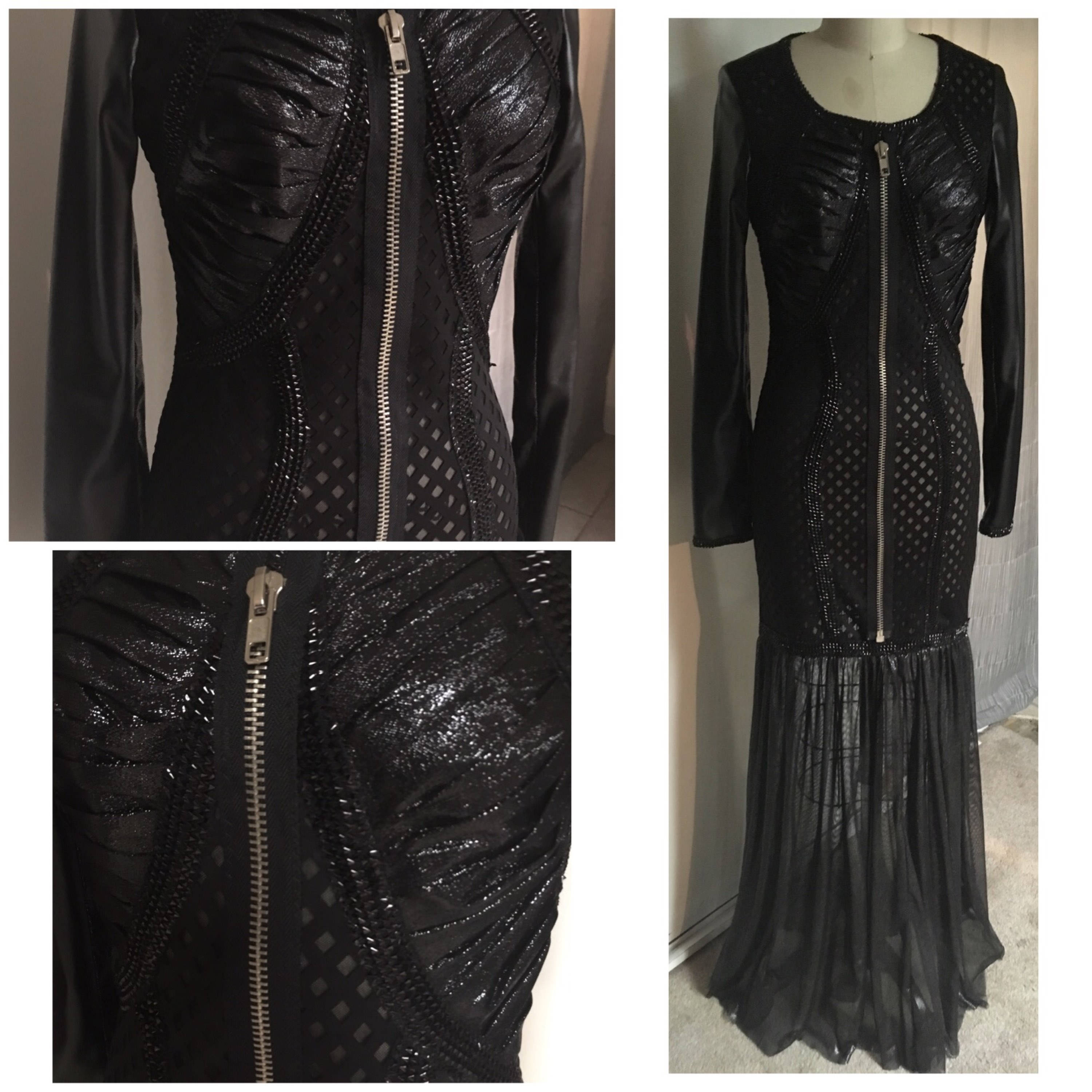 Black textured Futuristic Faux Leather Sheer Maxi Gothic Gown Dress ...