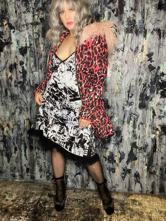 AntiLabel Black & White Mesh Serial Killer Crime Scene Slip Dress XL-2XL 16/18