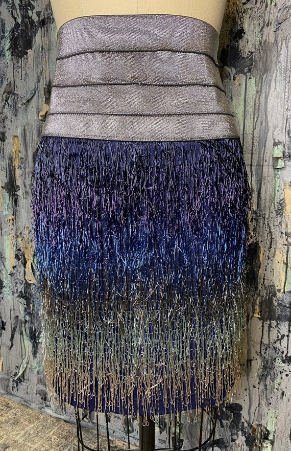 AntiLabel Ombre Metallic Fringe High waisted Skirt Small Medium