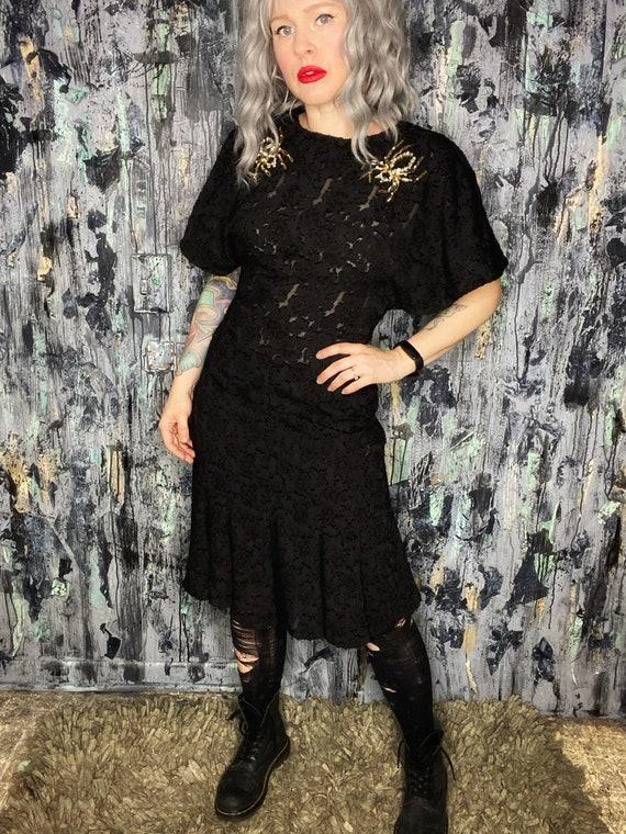 AntiLabel Black Sheer Burnout Rhinestone Spider Dress Medium Large 10/12