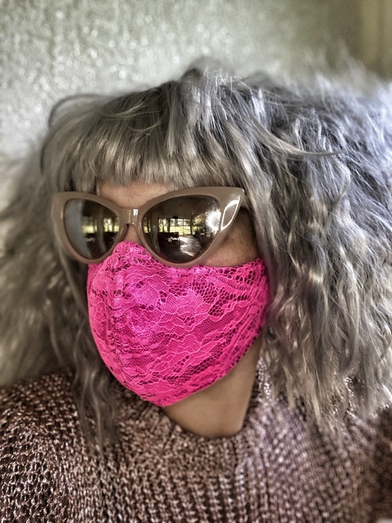 Hot pink metallic lace FACE MASK w/wire nose