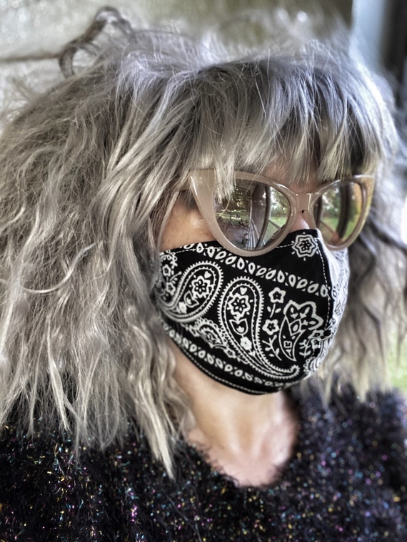 White & black bandana Paisley FACE MASK w/wire nose