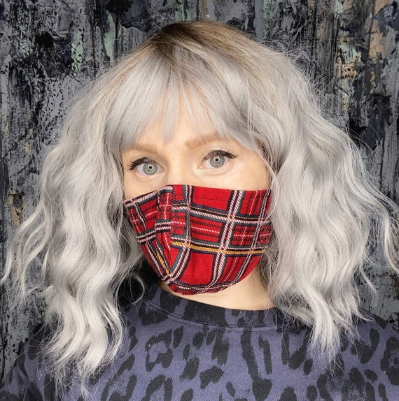 Red Tartan Plaid Punk Adjustable Mask w/nose wire