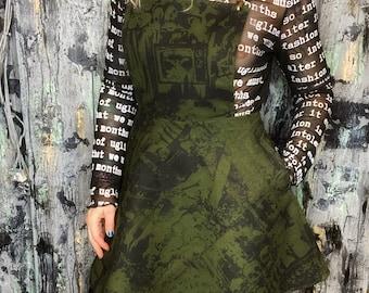 AntiLabel Olive Green Pinafore Serial Killer Dress Small