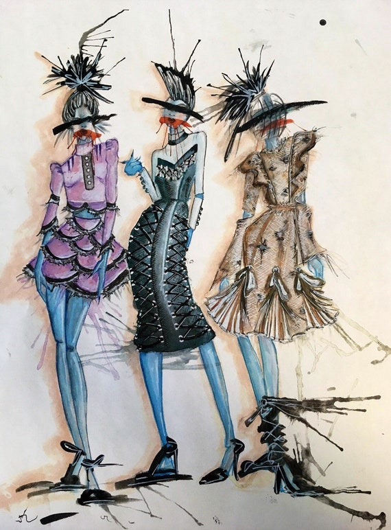 AntiLabel Watercolor Pretty Punk Fashion Illustration Print--11x14