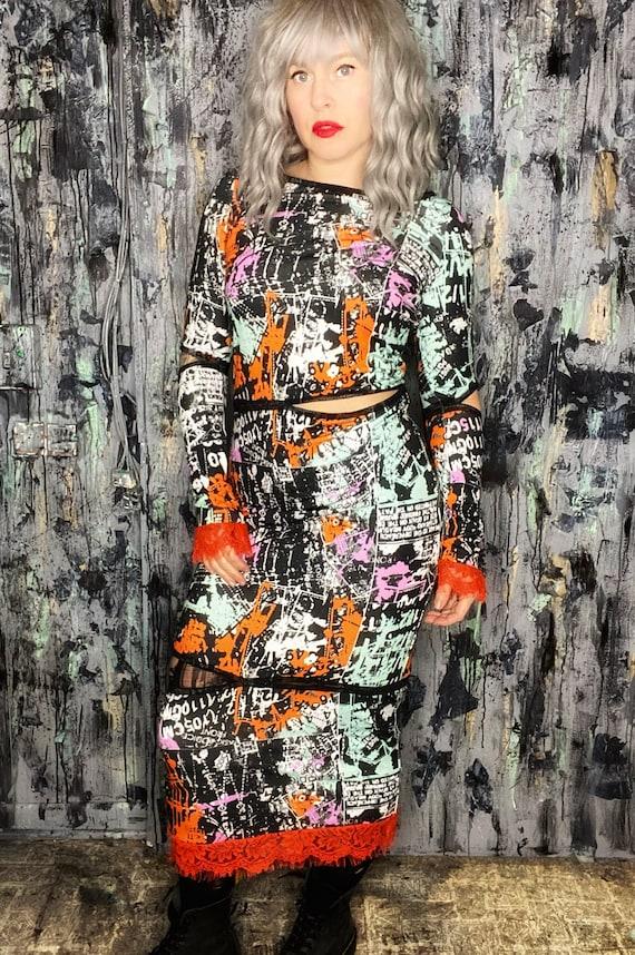 Anti.Label Cutout Collage Hobble Dress--Medium