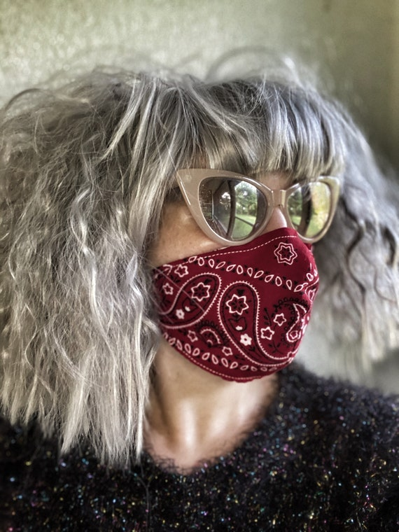 Red bandana Paisley FACE MASK w/wire nose