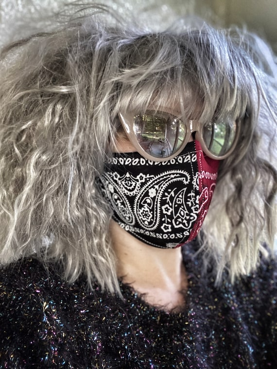 Red & black bandana Paisley FACE MASK w/wire nose