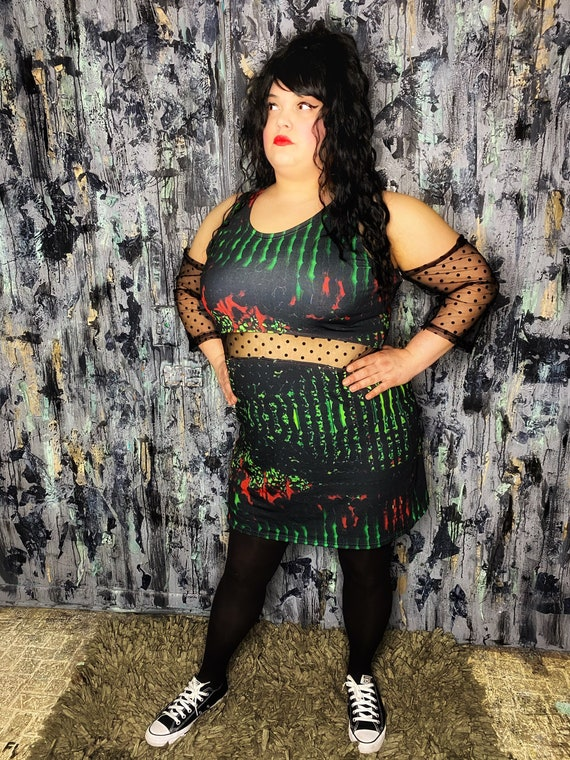 AntiLabel Alien Futuristic Knit Cutout Polkadot Dress 2X 18/20