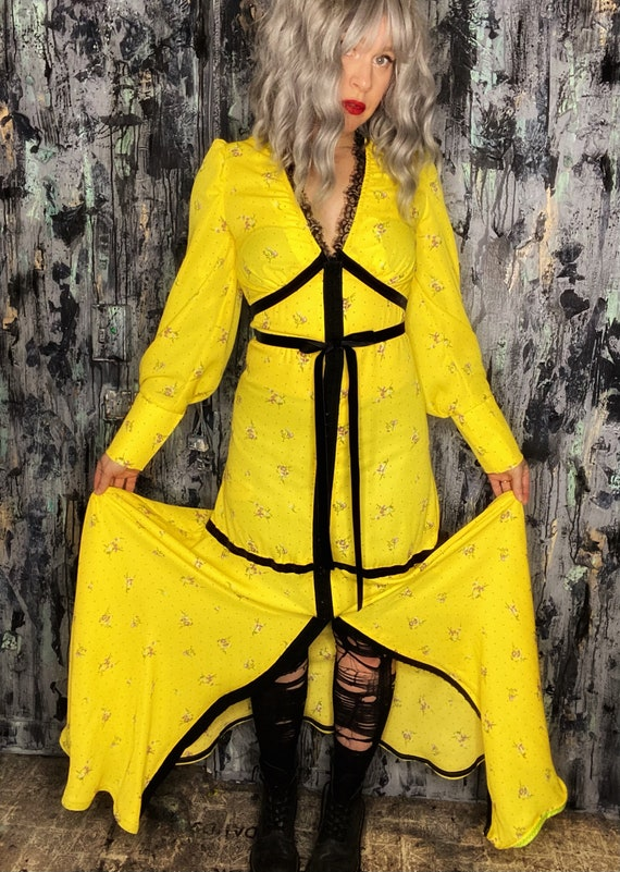 AntiLabel Bright Yellow Ditsy Floral Velvet Trimmed Maxi Dress Small