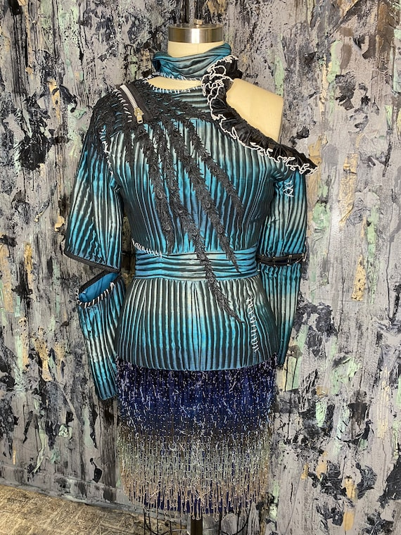 AntiLabel Teal Ombre Quilted Deconstructed Blazer Top Small