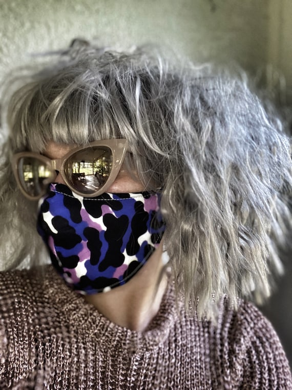 Pink & purple Leopard FACE MASK w/wire nose