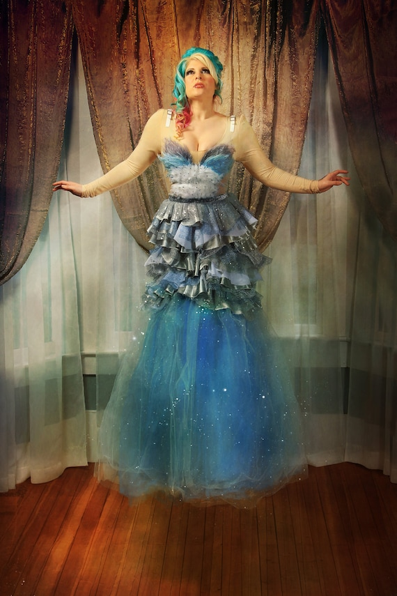 AntiLabel Ice Queen Feathers & Tulle Sequin Ruffled Avant Garde Costume Dress Gown MEDIUM 4/6