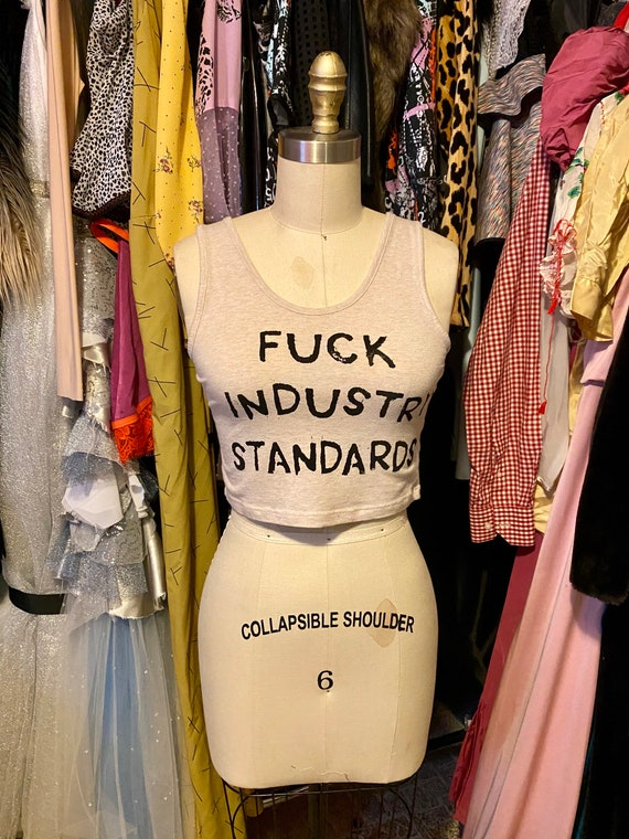F*CK Industry Standards diy oatmeal Tan crop top Small
