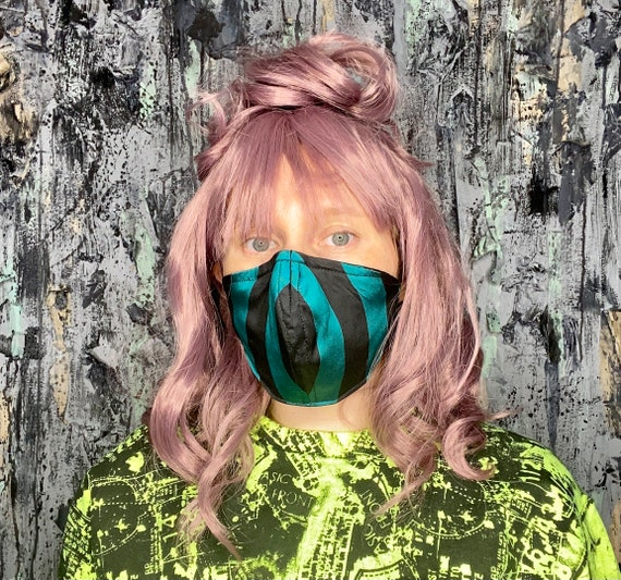 Teal & Black Striped Taffeta Adjustable Face Mask w/nose wire