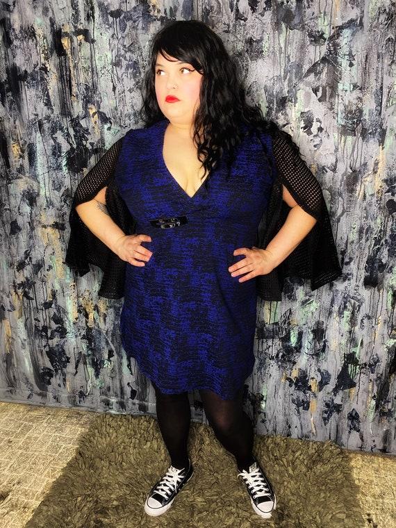 AntiLabel Blue Abstract Split Sleeve Dress 2X 20/22