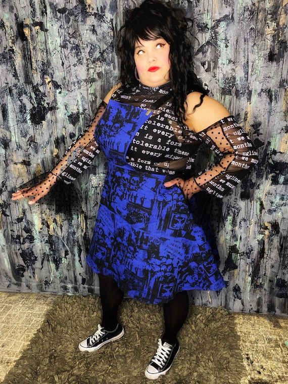 AntiLabel Black Mesh Anti Fashion Quote Tattered Top XL 2X